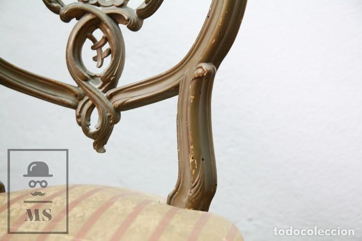 Antigüedades: Pareja de Antiguas Sillas Rococó / Luis XV - Madera Tallada y Tapicería de Tela - Siglo XIX - Foto 11 - 122679767