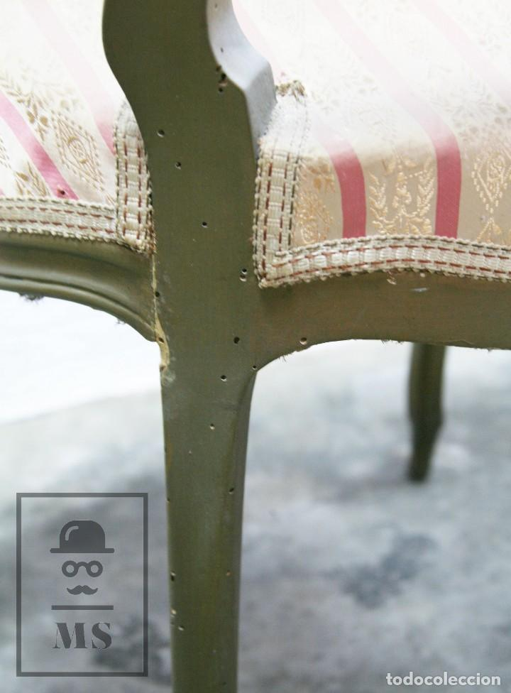 Antigüedades: Pareja de Antiguas Sillas Rococó / Luis XV - Madera Tallada y Tapicería de Tela - Siglo XIX - Foto 12 - 122679767