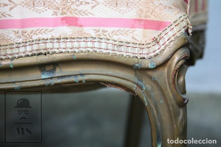 Antigüedades: Pareja de Antiguas Sillas Rococó / Luis XV - Madera Tallada y Tapicería de Tela - Siglo XIX - Foto 13 - 122679767