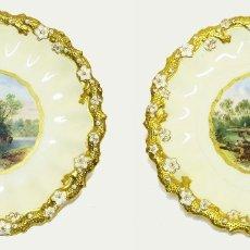 Antigüedades: 1850C - PAREJA DE PLATOS DE PORCELANA INGLESA COALPORT PINTADOS A MANO CON PAISAJES RURALES. Lote 122694135