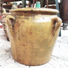 Antigüedades: ANTIGUA ORZA DE BARRO VIDRIADO. Lote 122701315