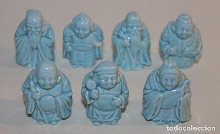 LOS 7 DIOSES SABIOS CHINOS DE LA FORTUNA EN PORCELANA ESMALTADA DE MEDIADOS DEL SIGLO XX (Antigüedades - Porcelanas y Cerámicas - China)