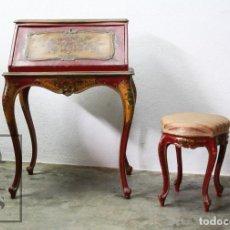 Antigüedades: ANTIGUO ESCRITORIO / SECRETER CON TABURETE - ROMÁNTICO / ROCOCÓ - DECORACIÓN FLORAL - FINALES S. XIX. Lote 122741015