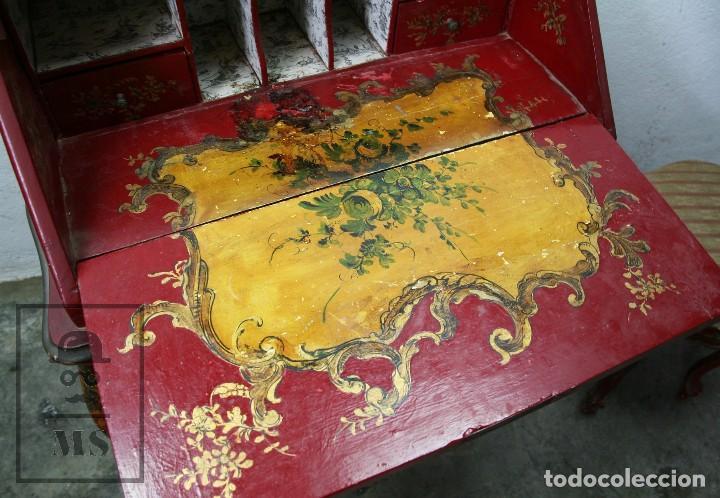 Antigüedades: Antiguo Escritorio / Secreter con Taburete - Romántico / Rococó - Decoración Floral - Finales S. XIX - Foto 3 - 122741015