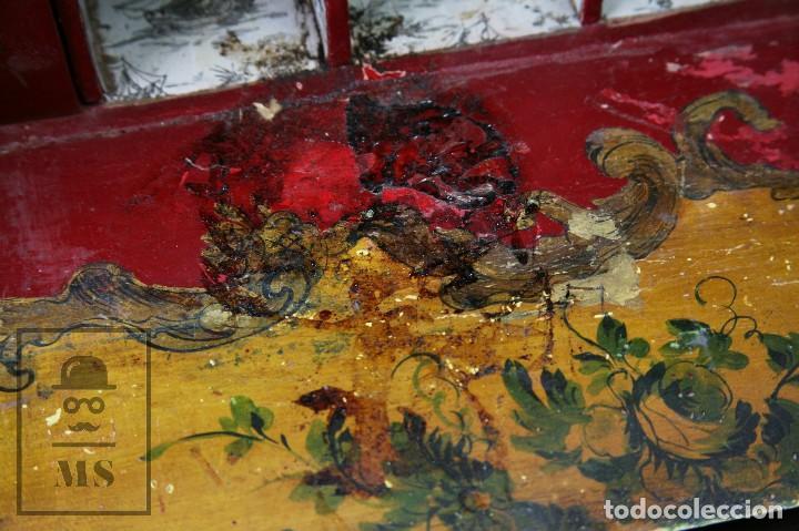 Antigüedades: Antiguo Escritorio / Secreter con Taburete - Romántico / Rococó - Decoración Floral - Finales S. XIX - Foto 4 - 122741015