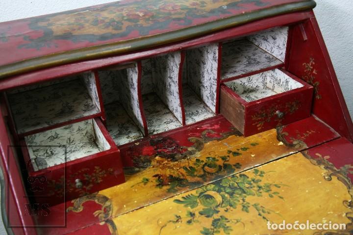 Antigüedades: Antiguo Escritorio / Secreter con Taburete - Romántico / Rococó - Decoración Floral - Finales S. XIX - Foto 5 - 122741015