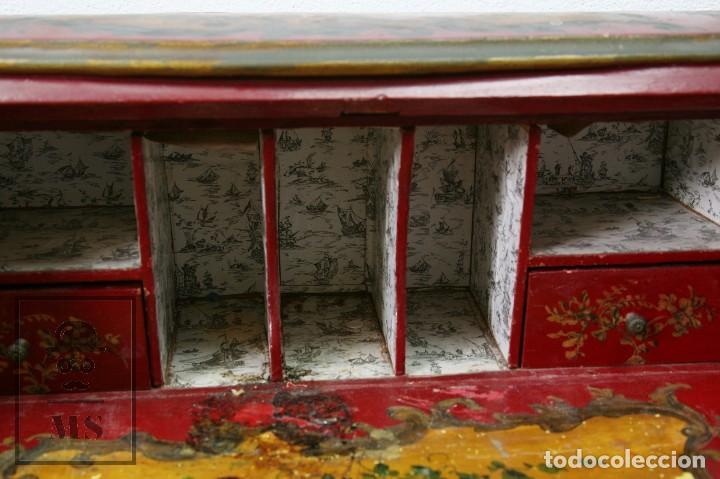 Antigüedades: Antiguo Escritorio / Secreter con Taburete - Romántico / Rococó - Decoración Floral - Finales S. XIX - Foto 6 - 122741015