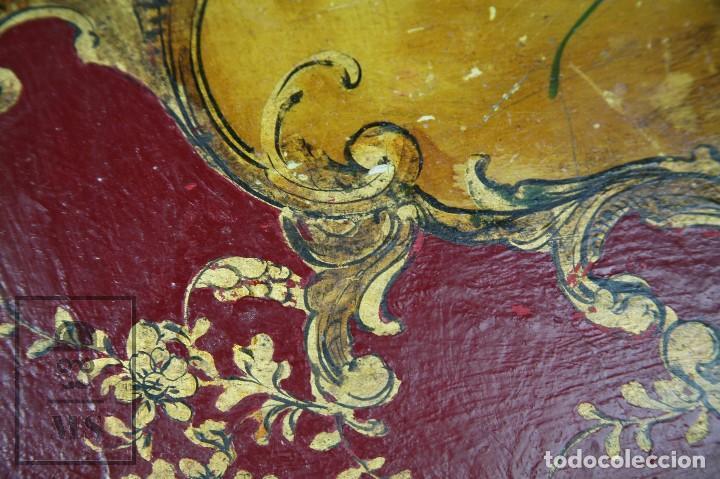 Antigüedades: Antiguo Escritorio / Secreter con Taburete - Romántico / Rococó - Decoración Floral - Finales S. XIX - Foto 7 - 122741015