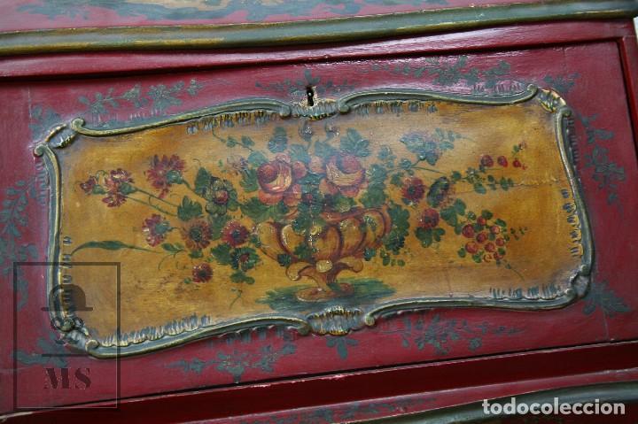 Antigüedades: Antiguo Escritorio / Secreter con Taburete - Romántico / Rococó - Decoración Floral - Finales S. XIX - Foto 8 - 122741015