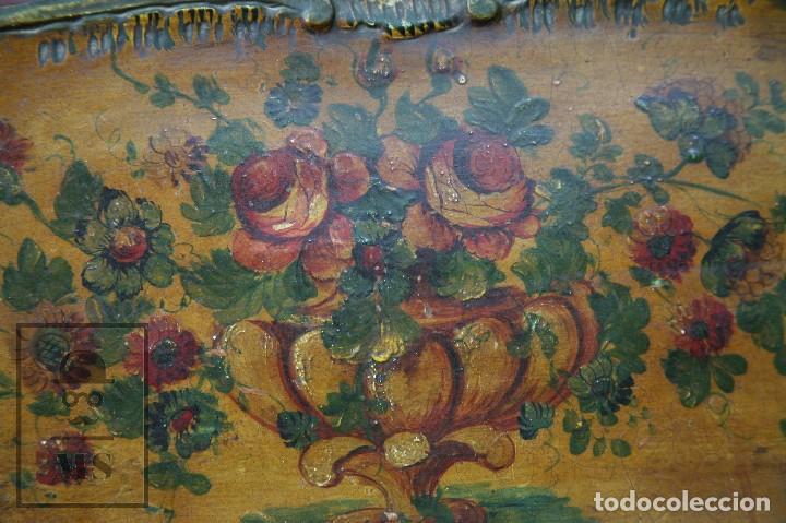 Antigüedades: Antiguo Escritorio / Secreter con Taburete - Romántico / Rococó - Decoración Floral - Finales S. XIX - Foto 9 - 122741015