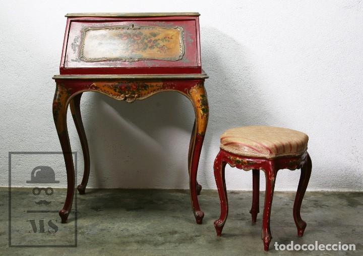 Antigüedades: Antiguo Escritorio / Secreter con Taburete - Romántico / Rococó - Decoración Floral - Finales S. XIX - Foto 10 - 122741015
