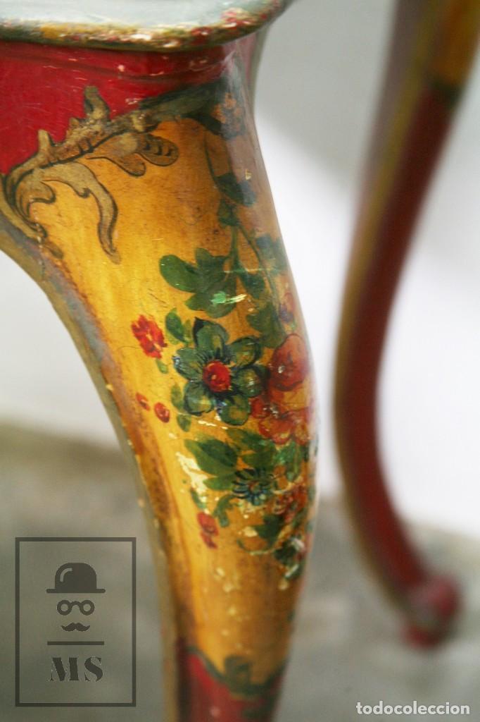 Antigüedades: Antiguo Escritorio / Secreter con Taburete - Romántico / Rococó - Decoración Floral - Finales S. XIX - Foto 12 - 122741015