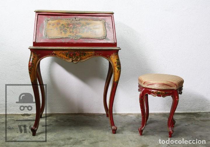 Antigüedades: Antiguo Escritorio / Secreter con Taburete - Romántico / Rococó - Decoración Floral - Finales S. XIX - Foto 16 - 122741015
