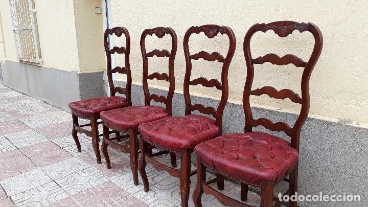 Antigüedades: 6 seis sillas antiguas cuero capitoné estilo chester inglés, sillería salón comedor estilo rústico. - Foto 2 - 122749423