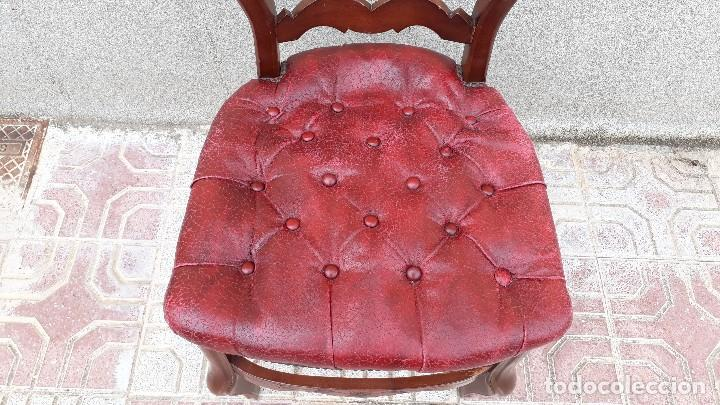 Antigüedades: 6 seis sillas antiguas cuero capitoné estilo chester inglés, sillería salón comedor estilo rústico. - Foto 3 - 122749423