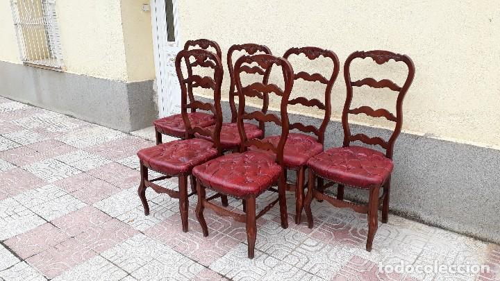 Antigüedades: 6 seis sillas antiguas cuero capitoné estilo chester inglés, sillería salón comedor estilo rústico. - Foto 4 - 122749423