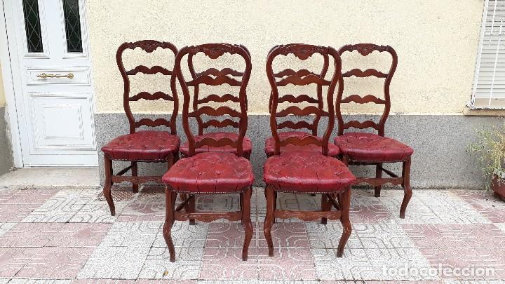 Antigüedades: 6 seis sillas antiguas cuero capitoné estilo chester inglés, sillería salón comedor estilo rústico. - Foto 5 - 122749423