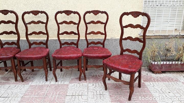 Antigüedades: 6 seis sillas antiguas cuero capitoné estilo chester inglés, sillería salón comedor estilo rústico. - Foto 6 - 122749423