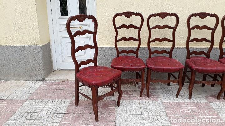 Antigüedades: 6 seis sillas antiguas cuero capitoné estilo chester inglés, sillería salón comedor estilo rústico. - Foto 7 - 122749423
