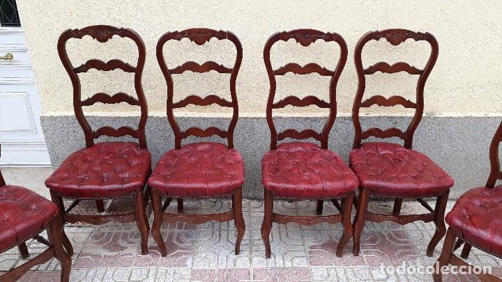 Antigüedades: 6 seis sillas antiguas cuero capitoné estilo chester inglés, sillería salón comedor estilo rústico. - Foto 8 - 122749423