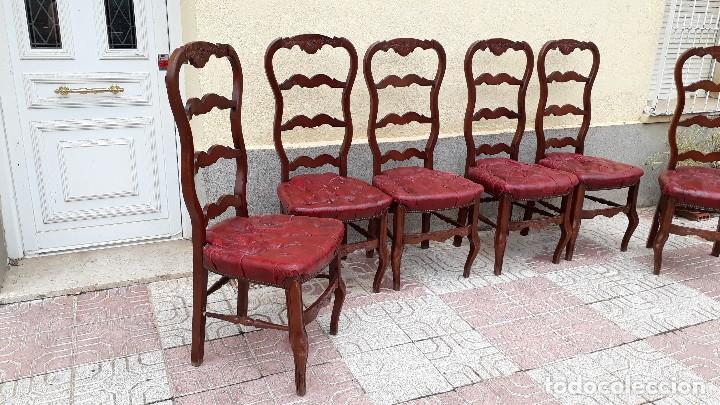 Antigüedades: 6 seis sillas antiguas cuero capitoné estilo chester inglés, sillería salón comedor estilo rústico. - Foto 9 - 122749423