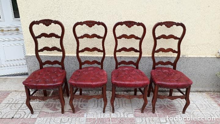 Antigüedades: 6 seis sillas antiguas cuero capitoné estilo chester inglés, sillería salón comedor estilo rústico. - Foto 10 - 122749423