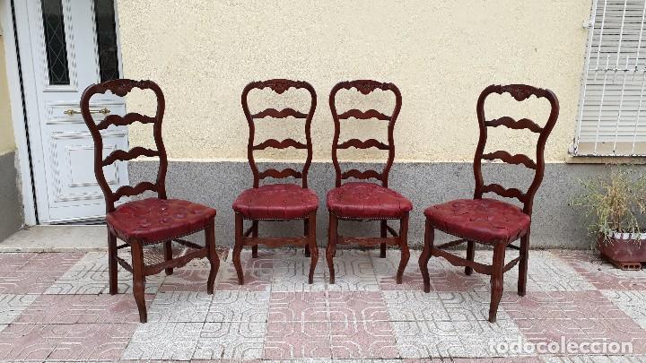 Antigüedades: 6 seis sillas antiguas cuero capitoné estilo chester inglés, sillería salón comedor estilo rústico. - Foto 11 - 122749423