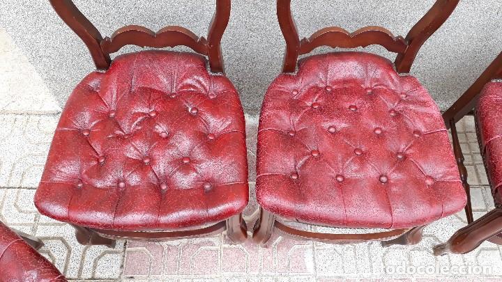 Antigüedades: 6 seis sillas antiguas cuero capitoné estilo chester inglés, sillería salón comedor estilo rústico. - Foto 12 - 122749423