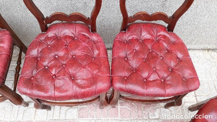 Antigüedades: 6 seis sillas antiguas cuero capitoné estilo chester inglés, sillería salón comedor estilo rústico. - Foto 13 - 122749423