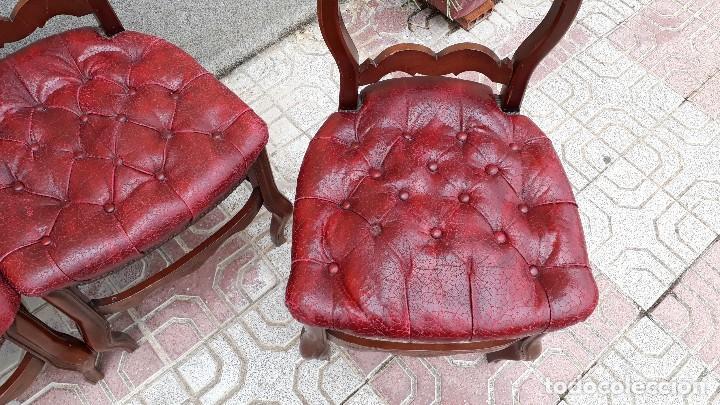 Antigüedades: 6 seis sillas antiguas cuero capitoné estilo chester inglés, sillería salón comedor estilo rústico. - Foto 14 - 122749423