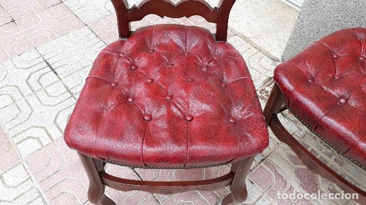Antigüedades: 6 seis sillas antiguas cuero capitoné estilo chester inglés, sillería salón comedor estilo rústico. - Foto 15 - 122749423