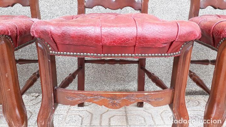 Antigüedades: 6 seis sillas antiguas cuero capitoné estilo chester inglés, sillería salón comedor estilo rústico. - Foto 16 - 122749423