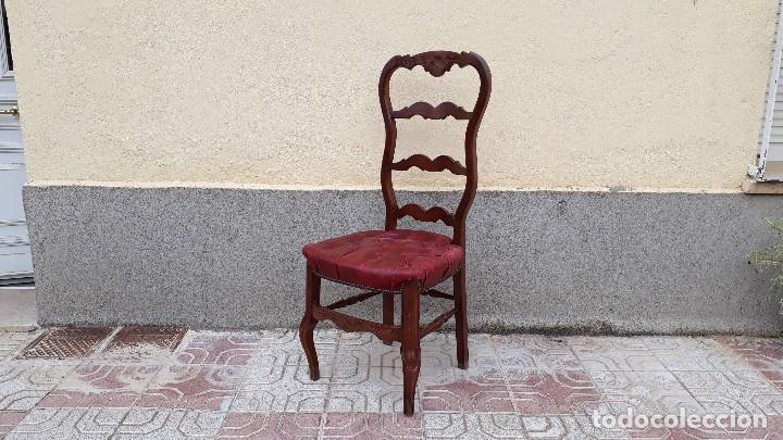 Antigüedades: 6 seis sillas antiguas cuero capitoné estilo chester inglés, sillería salón comedor estilo rústico. - Foto 18 - 122749423