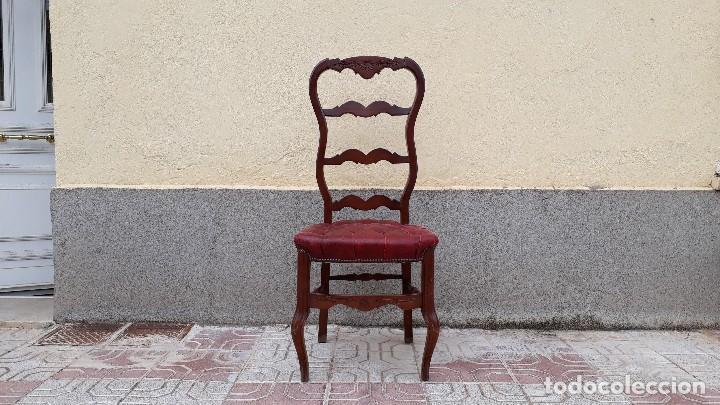 Antigüedades: 6 seis sillas antiguas cuero capitoné estilo chester inglés, sillería salón comedor estilo rústico. - Foto 19 - 122749423
