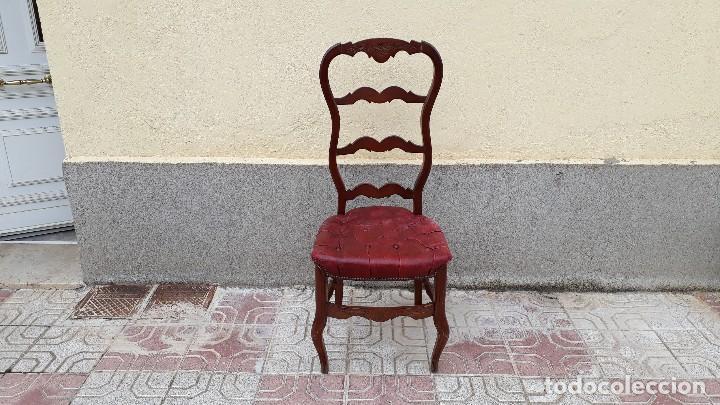 Antigüedades: 6 seis sillas antiguas cuero capitoné estilo chester inglés, sillería salón comedor estilo rústico. - Foto 20 - 122749423