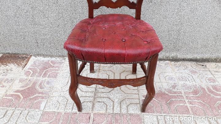 Antigüedades: 6 seis sillas antiguas cuero capitoné estilo chester inglés, sillería salón comedor estilo rústico. - Foto 21 - 122749423
