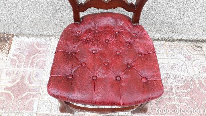 Antigüedades: 6 seis sillas antiguas cuero capitoné estilo chester inglés, sillería salón comedor estilo rústico. - Foto 22 - 122749423