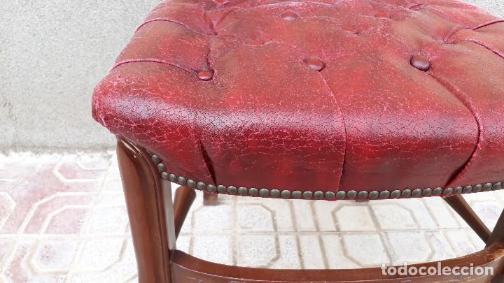 Antigüedades: 6 seis sillas antiguas cuero capitoné estilo chester inglés, sillería salón comedor estilo rústico. - Foto 23 - 122749423