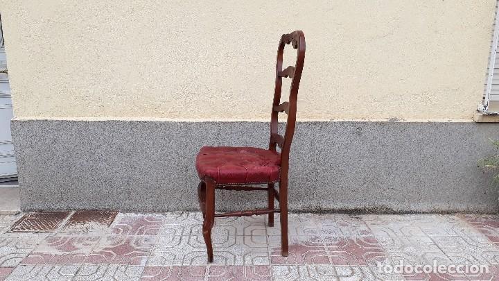 Antigüedades: 6 seis sillas antiguas cuero capitoné estilo chester inglés, sillería salón comedor estilo rústico. - Foto 26 - 122749423