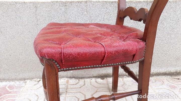 Antigüedades: 6 seis sillas antiguas cuero capitoné estilo chester inglés, sillería salón comedor estilo rústico. - Foto 27 - 122749423
