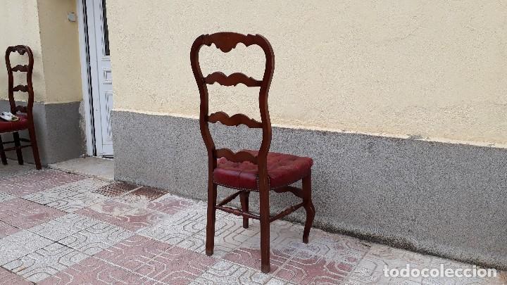 Antigüedades: 6 seis sillas antiguas cuero capitoné estilo chester inglés, sillería salón comedor estilo rústico. - Foto 28 - 122749423