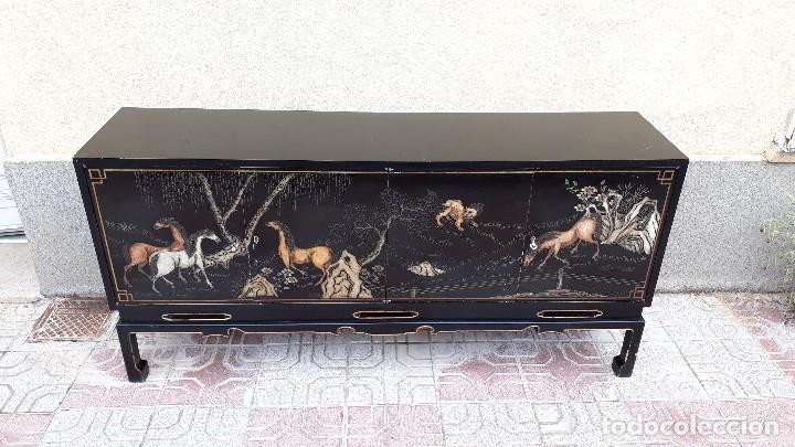 Antigüedades: Mueble aparador antiguo estilo chino, mueble auxiliar bufet, mueble bar taquillón oriental o japonés - Foto 4 - 122753039