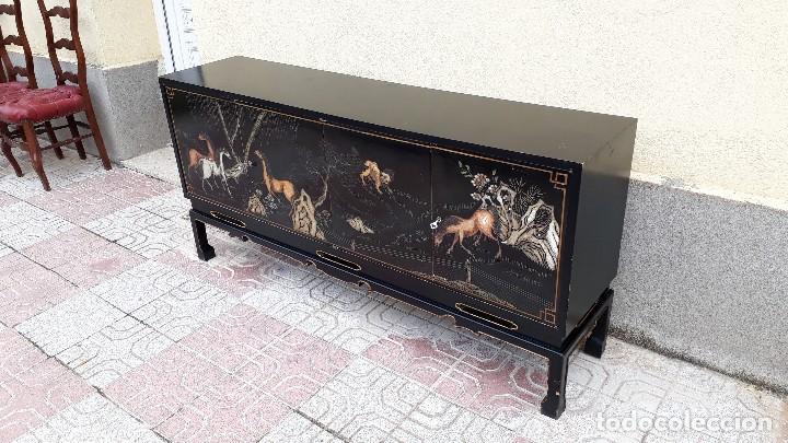 Antigüedades: Mueble aparador antiguo estilo chino, mueble auxiliar bufet, mueble bar taquillón oriental o japonés - Foto 7 - 122753039
