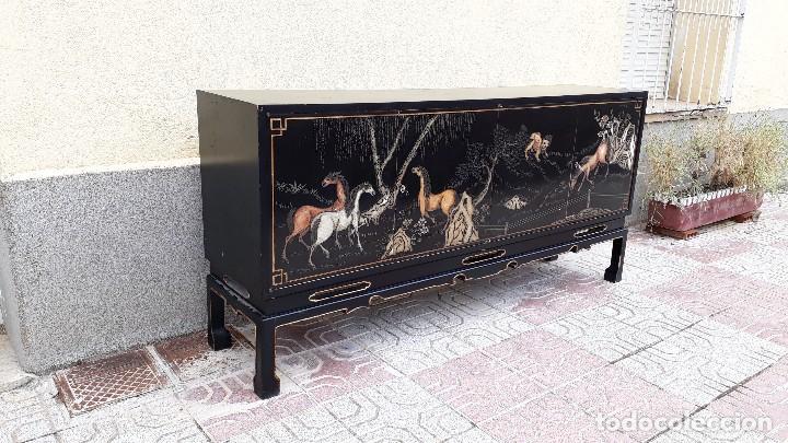 Antigüedades: Mueble aparador antiguo estilo chino, mueble auxiliar bufet, mueble bar taquillón oriental o japonés - Foto 8 - 122753039