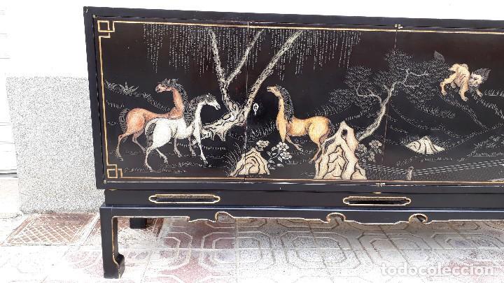 Antigüedades: Mueble aparador antiguo estilo chino, mueble auxiliar bufet, mueble bar taquillón oriental o japonés - Foto 10 - 122753039