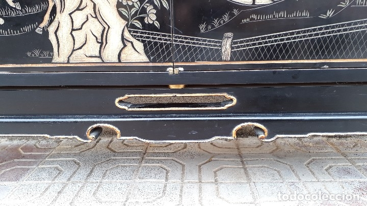 Antigüedades: Mueble aparador antiguo estilo chino, mueble auxiliar bufet, mueble bar taquillón oriental o japonés - Foto 27 - 122753039