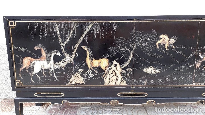 Antigüedades: Mueble aparador antiguo estilo chino, mueble auxiliar bufet, mueble bar taquillón oriental o japonés - Foto 29 - 122753039