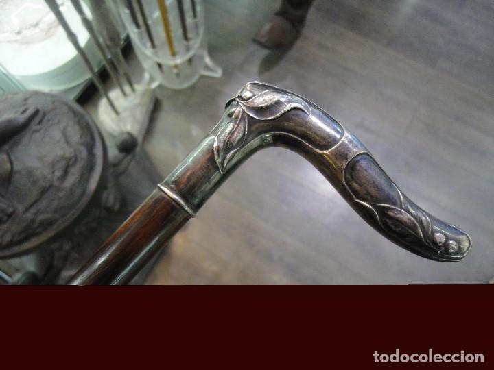 BASTON MANGO DE PLATA (Antigüedades - Moda - Bastones Antiguos)