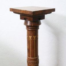 Antigüedades: ANTIGUA PEANA / COLUMNA DE MADERA TALLADA - ESTILO MODERNISTA / ART NOUVEAU - PRINCIPIOS SIGLO XX. Lote 122777291