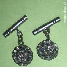 Antigüedades: RA4 ANTIGUA PAREJA DE GEMELOS ORIGINAL DISEÑO. Lote 122818327